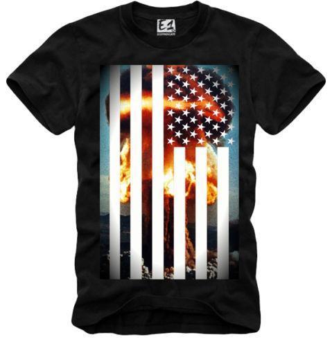 E1SYNDICATE футболка атомная бомба США Алмаз питания мальчик черный 1399b