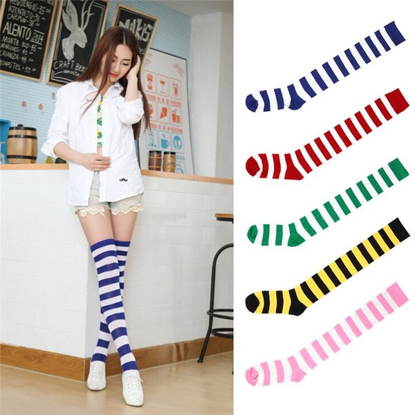 Fashion Striped Knee Socks Women Cotton Thigh High Over The Knee Stockings for Ladies Girls 2017 Warm Long Stocking Sexy Medias