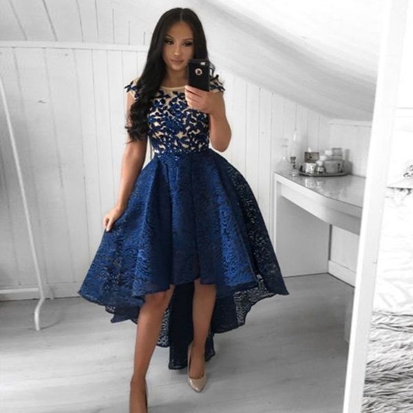 Chic Navy Blue High Low A Line Lace Homecoming Dresses Jewel Neck Short Sleeve Appliques Draped Girls Graduation Gown Asymmetrical Hem Shop For