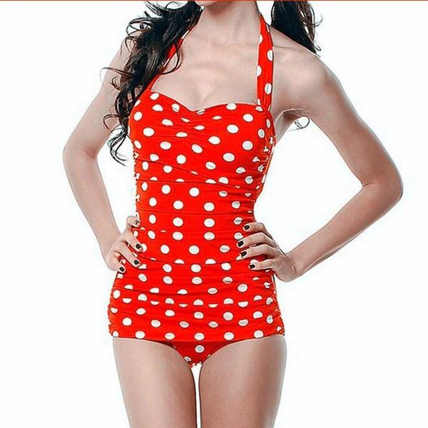 Traje de baño de una pieza de las mujeres 2018 de la venta caliente más el tamaño atractivo traje de baño de lunares halter vendaje Push Up Monokini traje de baño retro de la nadada