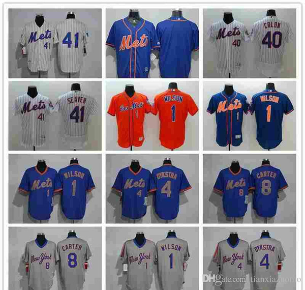 timeless design 27c11 80968 2018 2019 Men'S Women Youth Ny Mets Jersey #1 Mookie Wilson 4 Lenny Dykstra  8 Gary Carter 40 Bartolo Colon 41 Tom Seaver Baseball Jerseys From ...
