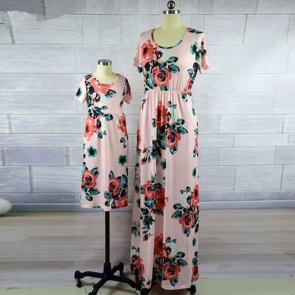 Mother Daughter Dresses Fashion Floral Print Short Sleeve Mommy and Me Clothes Family Matching Outfits Ankle-length Dress
