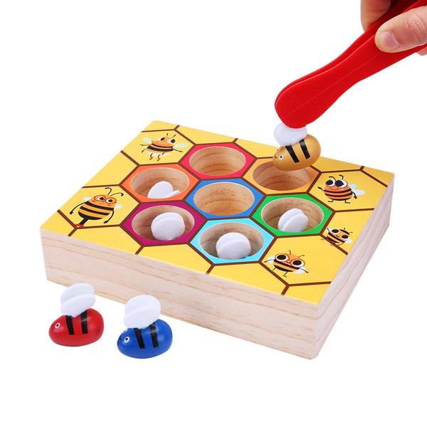 Encantador de madera de abeja recogiendo juguete prácticas de captura para el bebé juego educativo temprano del niño colmena colorida caja juguetes educativos