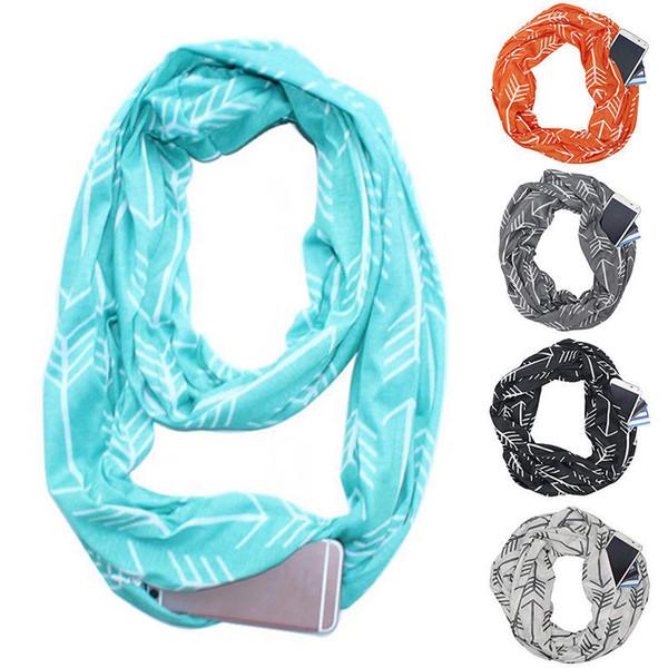 Écharpe Infinity convertible pour femmes avec poche à fermeture à glissière et écharpes WML99