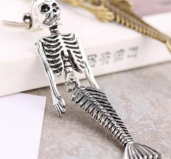 High Quality Brand Design Keyring Cool Alloy Luxury Skull Mermaid Keychain For Man Women Car Key Buckle Birthday Gift 3 54kt Y