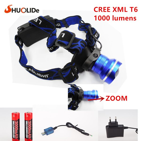 NEW Design HeadLight CREE XML XM-L2 LED Headlights 3 Mode Waterproof Zoom Focus Front Light LED HeadLamp T6 camping fishing