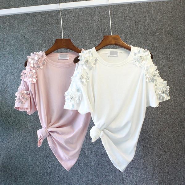 Clearing 2018 T-shirt primavera estate donna t-shirt in cotone con motivo floreale 3D