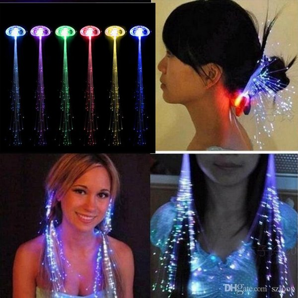Colorful Luminous Light Up LED Hair Extension Flash Braid Party Girl Hair Glow by Fiber Optic Christmas Halloween Night Lights Decoration