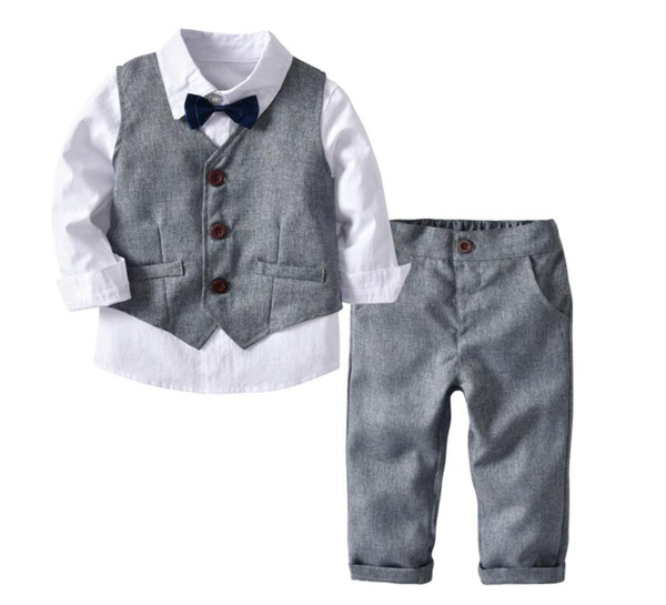 boy grey waistcoat + long sleeve t-shirt + pants + bowknot set four pieces baby spring and autumn trousers suit kids children clothes xam011