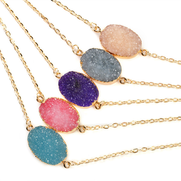 Natural Druzy Quartz Clusters Geode Stone Gem Healing Reiki Pendant Necklace & Pendants