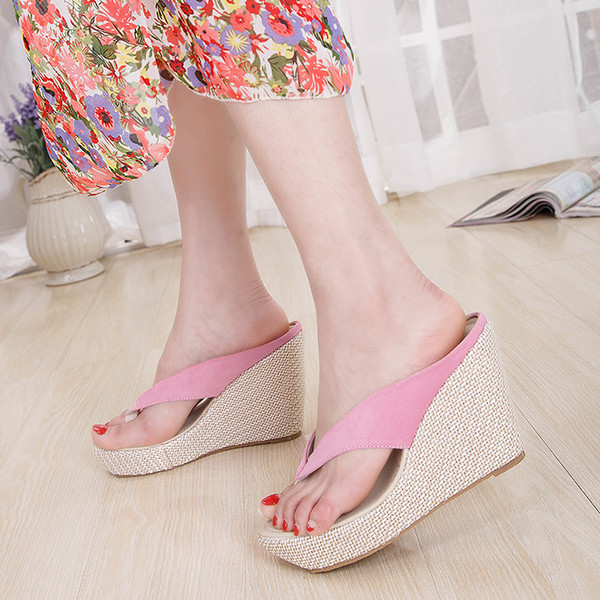 1fec8b15e765b1 Crystal Queen Women Summer High Heel Slippers Platform Sandals Ladies  Wedges Sandals Brand Flip Flops Shoes