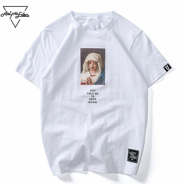 Aelfric Eden Tshirt Streetwear Mary Imprimé T-shirt À Manches Courtes D'été Casual Coton Hip Hop Tops Tees Swag T-shirts D'été KT54