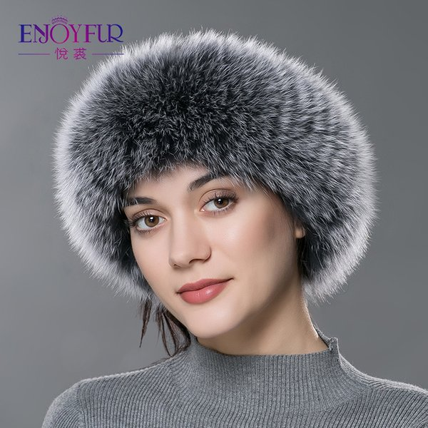 ENJOYFUR Autumn Winter women fur headband real fox fur scarf warm ear protecter headband 2018 new women knitted fur headwarps Y18102010