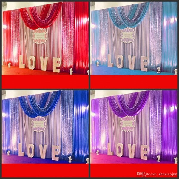 10ft*20ft Wedding Party Stage Celebration Background Satin Curtain Drape Pillar Ceiling Backdrop Marriage decoration Veil 3M*6M