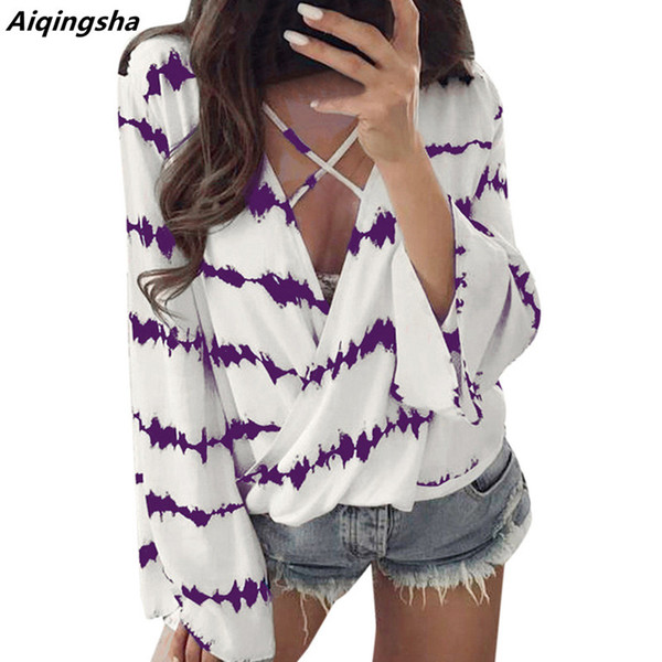 blouses shirts chiffon blouse women big size xxxl deep v chest cross strap trumpet sleeves floral print, White