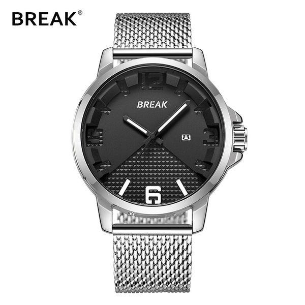 BREAK Mesh Stainless Steel Luxury Men's Watch Auto Date Clock Male Sport Watches Quartz Casual Wristwatch Relogio Masculino 3301