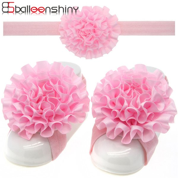 BalleenShiny 3Pcs/set Headband Barefoot Sandal Newborn Baby Girls Fashion Flower Beautiful Elastic Hairband Hair Foot Decoration