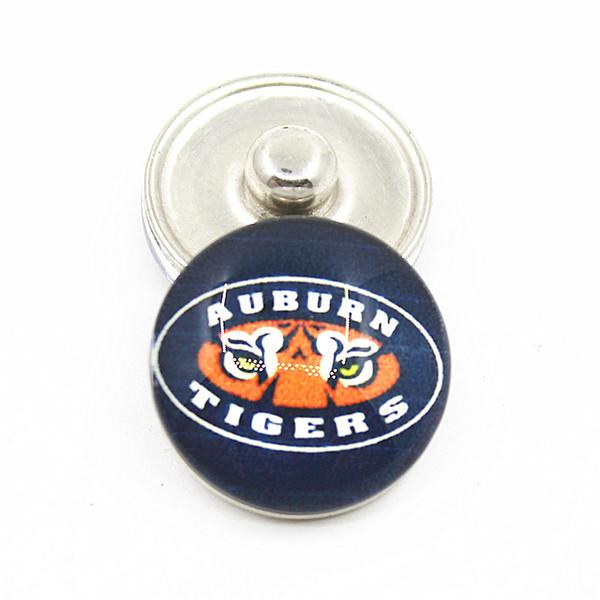 NCAA Auburn Tigres Equipe Esporte Encantos Gengibre Pressão De Vidro Botões Fit 18mm Snap Mulheres PulseiraBangles Colar Pingente DIY Jóias