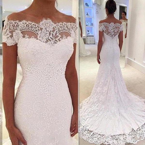 2018 Mermaid Lace Off Shoulder Short Sleeve Wedding Dresses Custom Made Country Bridal Gowns robe de mariée Elegant Dress For Brides