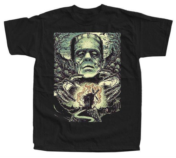Frankenstein V35, плакат фильма, футболка (черный) все размеры S-5XL хлопок футболки для мужчин футболка с коротким рукавом топ тройник