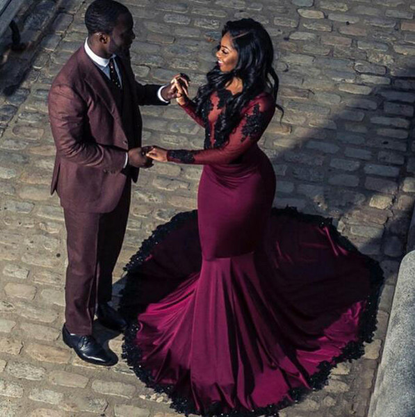 Arabic Sexy Burgundy Fuchsia Purple Prom Dresses for Black Girl Appliques Sequins Open Back Illusion Long Sleeve Mermaid Prom Party Gowns