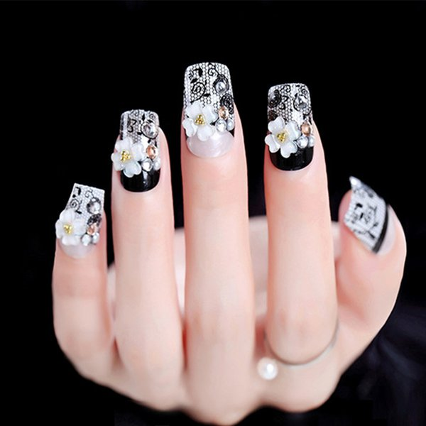 24pcs/Set Black Race False Nails Middle Long Pre-design Flower Decal Bride Nail Art Tool Glue Sticker Artificial Fake Nails