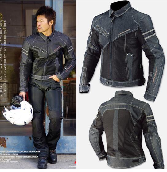 Wholesale NEW FOR Komine jk-006 cowboy clothing motorcycle mesh jacket cycling denim jacket anti-fall jackets