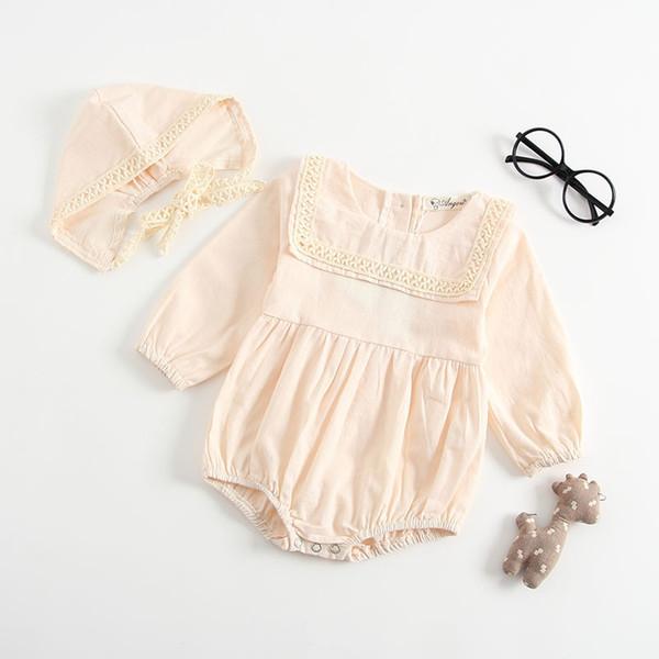 Everweekend Ins милые девочки кружевные оборки комбинезон с шапки конфеты бежевый серый цвет весна-лето мода одежда