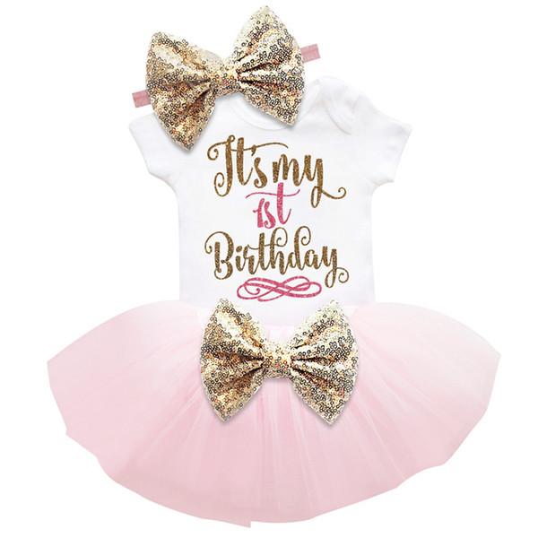 Abiti da compleanno per bambina Abiti per 1 anno 2 ° primo compleanno Festa Abito con paillettes dorato Abiti da battesimo Abiti per ragazze
