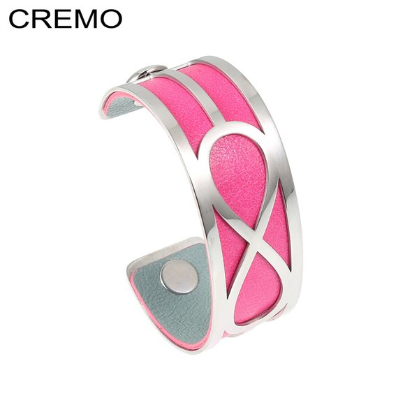 cremo infinity bracelets bangles agrent stainless steel femme manchette jewelry cuff leather reversible pulseiras bangles