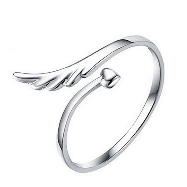 Todo saleNAQUBE Trendy New Men Women 2018 Anillo de compromiso Accesorios para el dedo Alas Y anillo en forma de corazón para mujeres Hombres Regalo