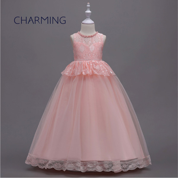 Küçük kız Için çocuk dantel elbise Çiçek kız elbise çocuk prenses elbise doğum günü partisi yüksek kalite dantel kumaş büyük kızlar piyano ...