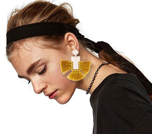 2018 Fashion Bohemian Earrings For Women Beach Jewelry Gifts Long Creative  Fan Shaped Tassel Dangle Chandelier Boho Earrings Statement Brincos From
