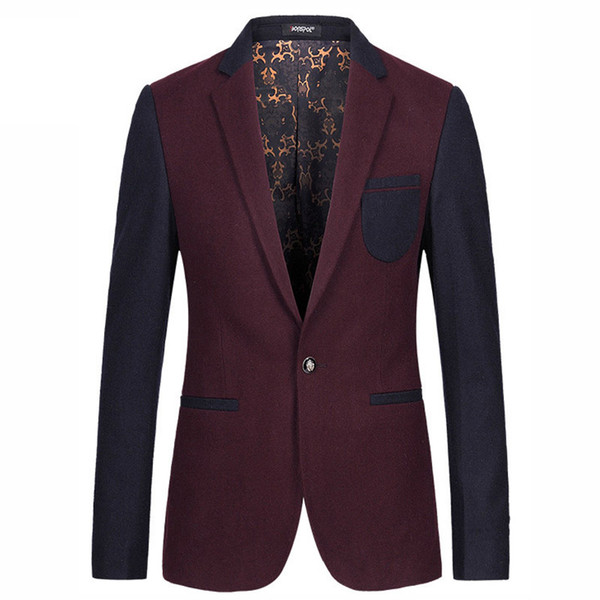 Fashion Men Slim Fit Wine Red Khaki Single Buon Wedding Party Blazer Men's 50% Wool Cashmere Blended Casual Suit Jacket M-3XL