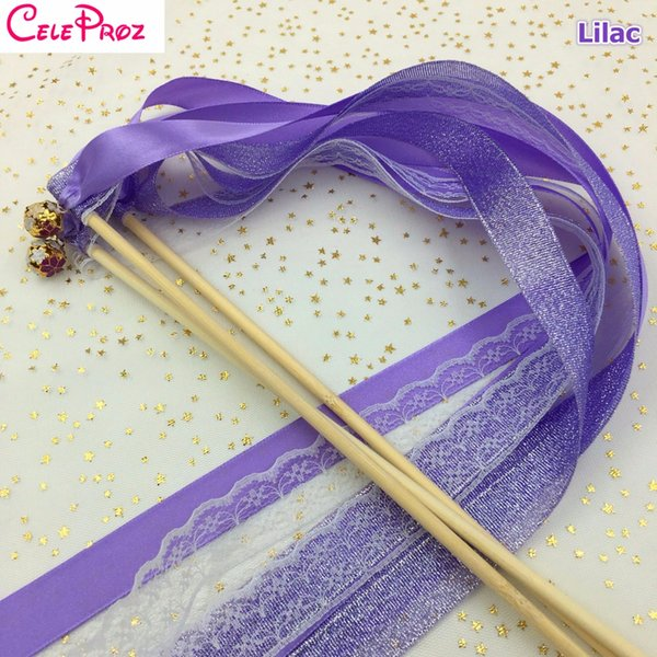 Lilac Purple Wedding Glitter Ribbon Wands Lace Fairy Sticks With Bells Birthday Ribbon Wands Wedding Photo Props Party Supply