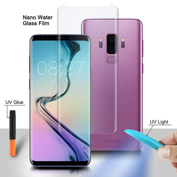 Nano Liquid Full Glue Tempered Glass For OPPO Find X Screen Protector For Samsung Note 9 8 S9 S8 Plus S7 Edge With UV Ligh +Glue