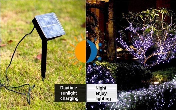 100 Leds Luz de Hada de la Energía Solar LED String Lamp Party Halloween Christmas Garden decoración para el hogar Cuerda Solar Powered