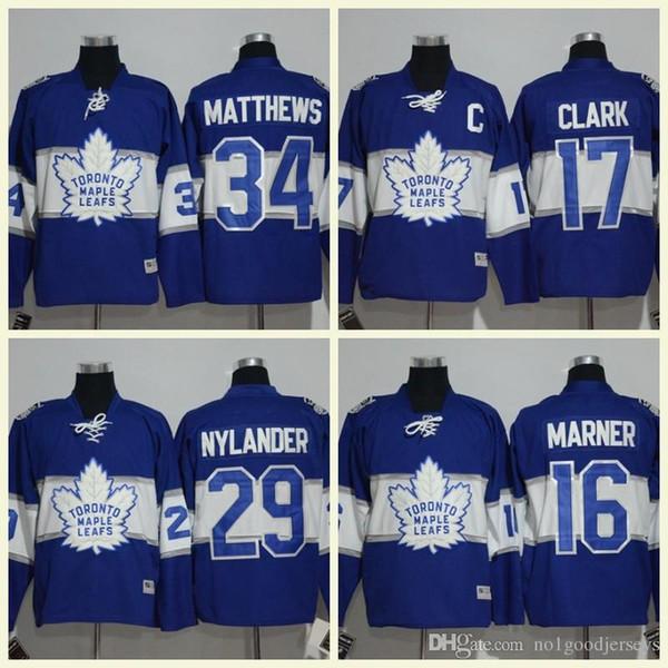 Toronto Maple Leafs 17 Wendel Clark 16 Mitch marner 29 William Nylander 34 Auston Matthews 44 Morgan Rielly Maglia hockey cucita 100 °
