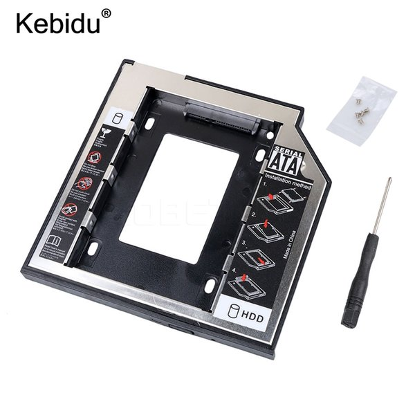 Wholesale-kebidu SATA to SATA 2nd HDD Caddy 9.5mm for 9mm 9.5mm SSD Case Hard Disk Drive Enclosure Bay for Notebook ODD Optibay CD-Rom