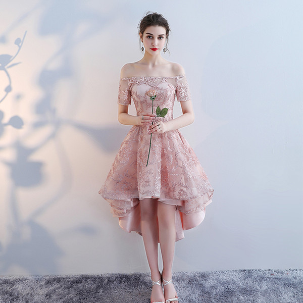 Lindo Rendas Plus Size Vestidos de Baile Alta Baixa Vestido de Formatura Vestido Elegent Backless Custom Color Vestido Formatura
