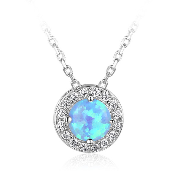 Charm 925 Sterling Silver Created Round Blue Opal Necklace Jewelry Valentines Day Gift for Lady Girls NE101903