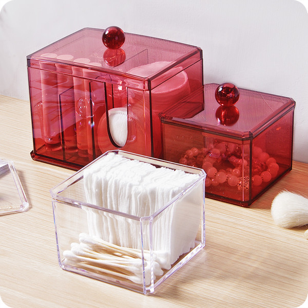 Acrylic makeup organizer with lid Clear Cotton Swabs holder Stick Storage box cosmetic containers plastic box case home decor