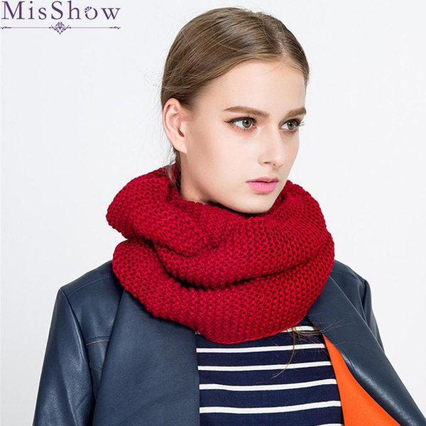 Autumn Winter 2018 New Scarves Warm Knitted Cable Ring Infinity Scarf For Women Casual solid Cashmere Neck Circle Snood Scarf