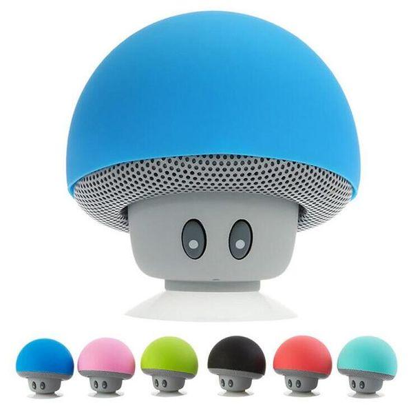 2018 nuovissimo fresco gadget colorato mini altoparlante del fungo altoparlante bluetooth 3.0 con microfono e ventosa per il telefono mobile IP6S all'ingrosso