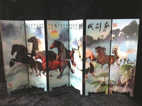 ( Mini ) Chinese Antique 8 - horse picture folding screen