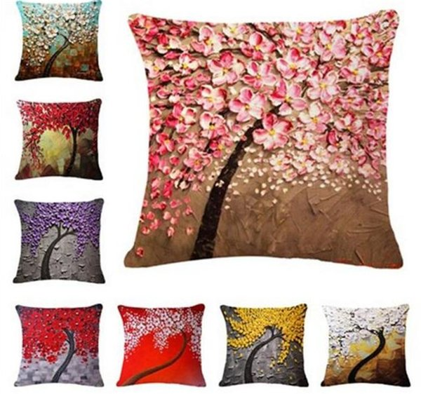 200pcs 17 colors Painting Flowers tress Linen Printed Throw Pillow Case Cushion Cover For Office Chair Decorative G347