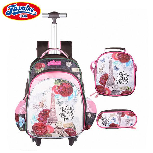 JASMINESTAR 3PCS Trolley School Bags Girl Laptop Backpacks Kids Satchel Luggage Large Capacity Wheeled School Bags For Girls Y18110107