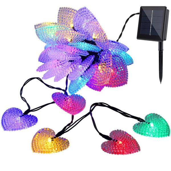 LED a forma di cuore Solar Fairy String Light Solar Powered LED Fairy Light String per la festa di nozze Decorazione natalizia Dropship all'ingrosso