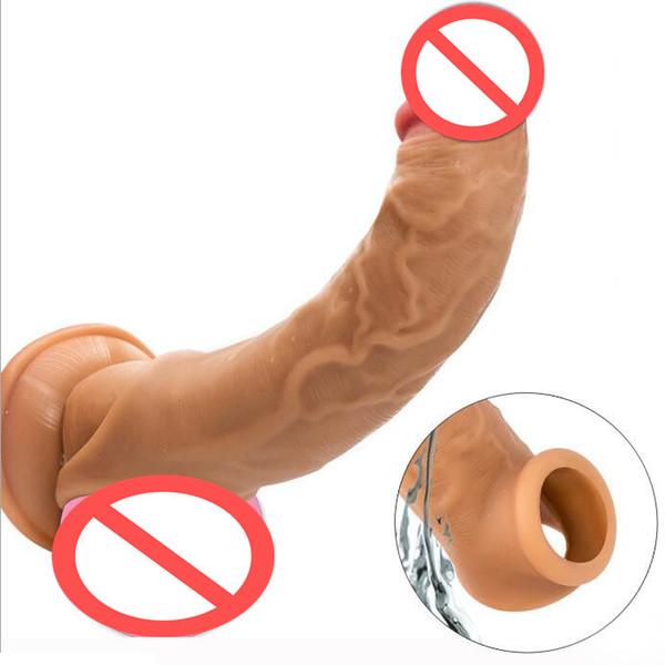 top popular Realistic Top Liquid Silicone Penis Sleeve Extender Cock Enlargement Enhancer Male Reusable Delay Gonobolia Dick Ring Adult Sex Toy For Men 2021