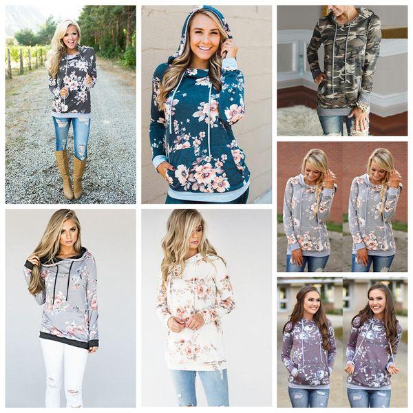 top popular Women Hoodie 8 Styles Floral Printed Long Sleeve Pullover Casual Pocket Sweater Sweatshirt Jumper Tops 50pcs OOA5424 2021